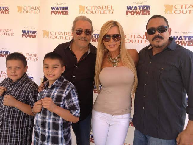 "Amber Lynn with actors/producers Edward James Olmos, Emilio Rivera and they two handsome, young actors that play the brothers as children in ""Water and Power"""